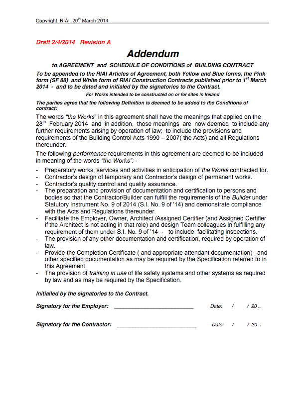 Post 5 Addendum To RIAI Contracts