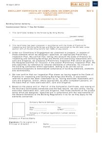 RIAI ACI 01 Inspection Ancillary Completion Cert Inspection Plan Architect